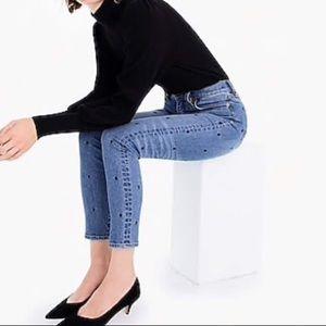 J.Crew high-rise toothpick polka dot jeans 31T